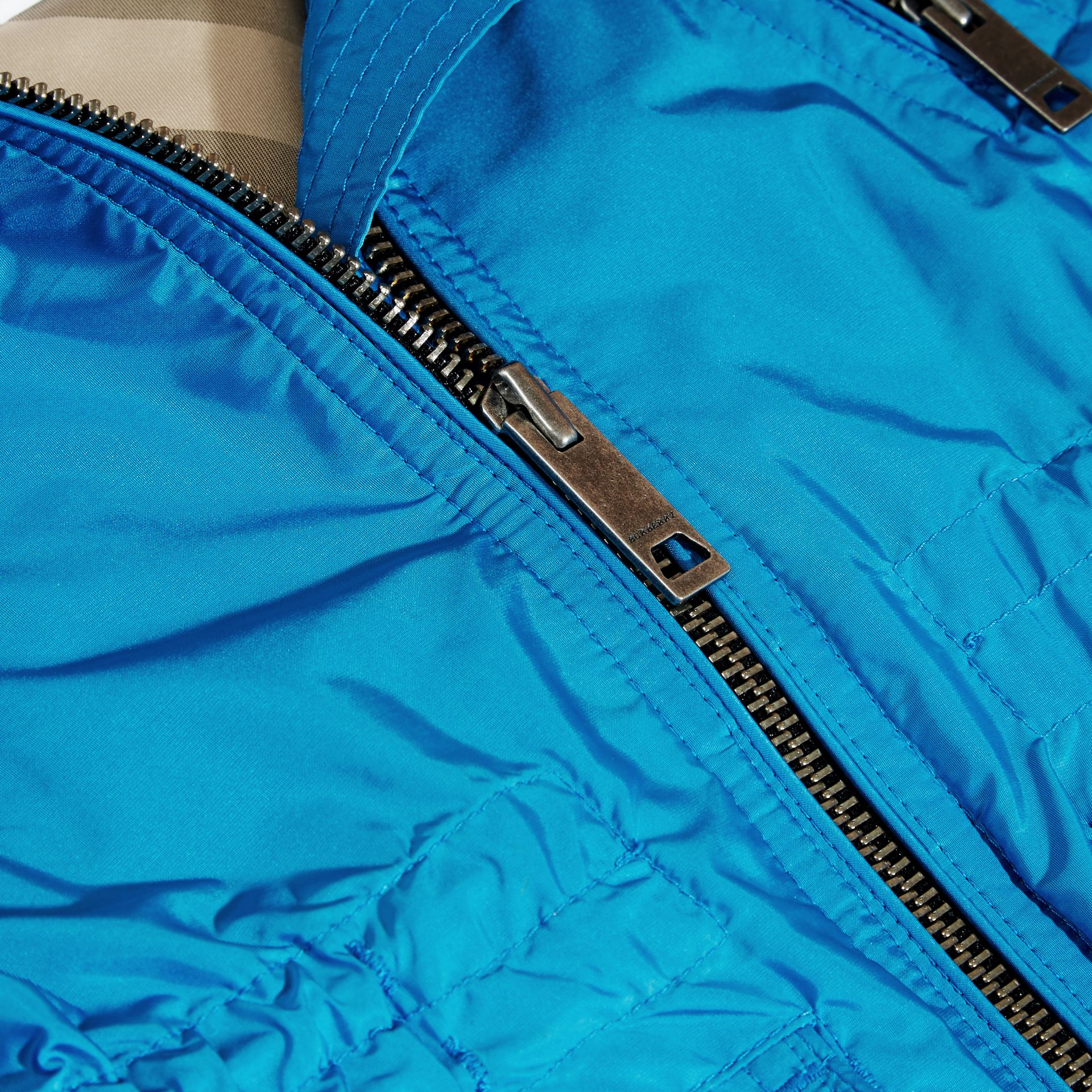 Hooded Packaway Technical Jacket Hydrangea Blue - gallery image 2