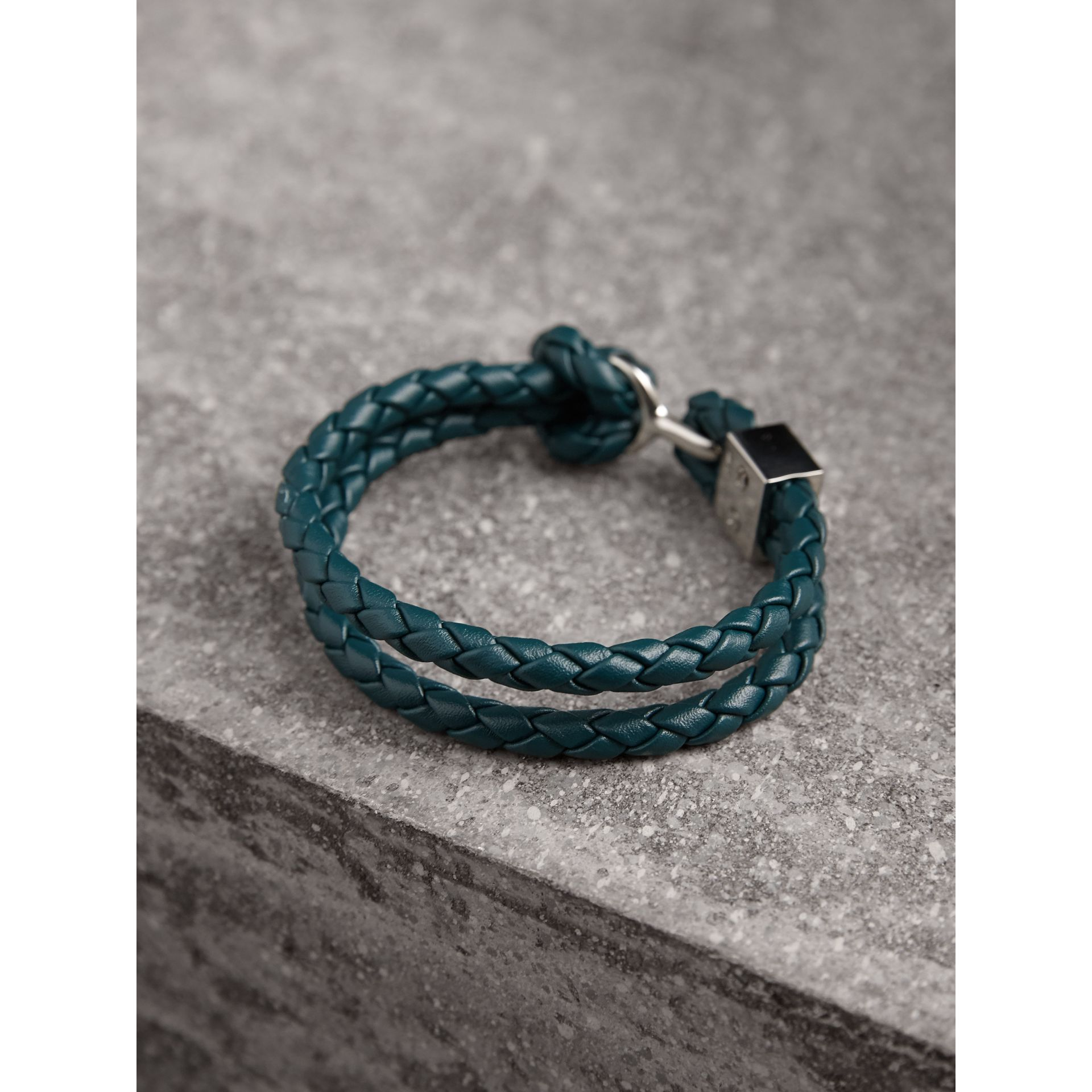 Braided Leather Bracelet in Dark Teal - Men | Burberry Singapore - gallery image 3