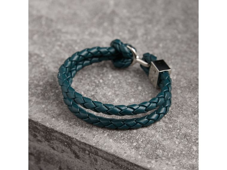 Braided Leather Bracelet in Dark Teal - Men | Burberry - cell image 2
