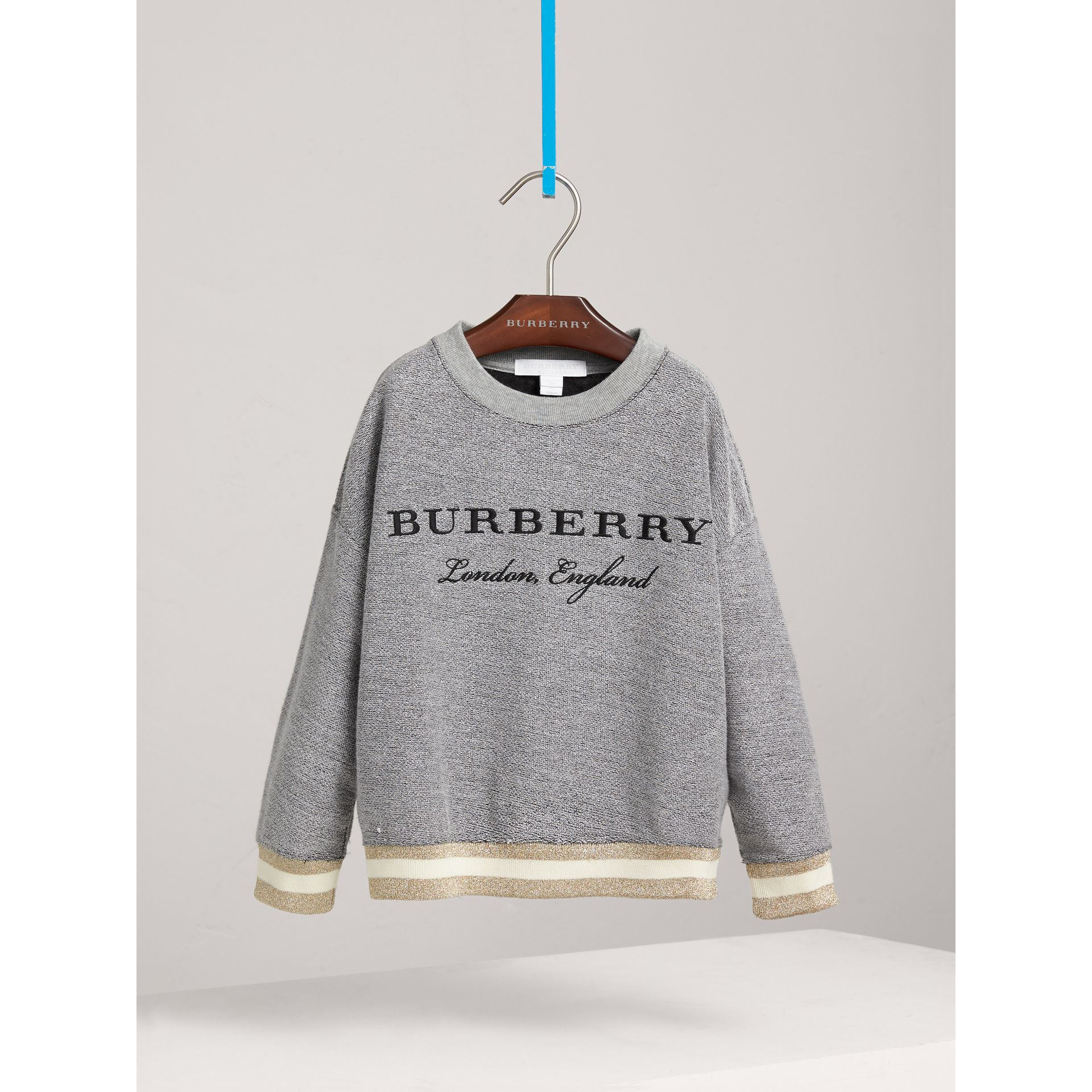 Striped Hem Embroidered Jersey Sweatshirt in Grey Melange - Girl | Burberry - gallery image 2