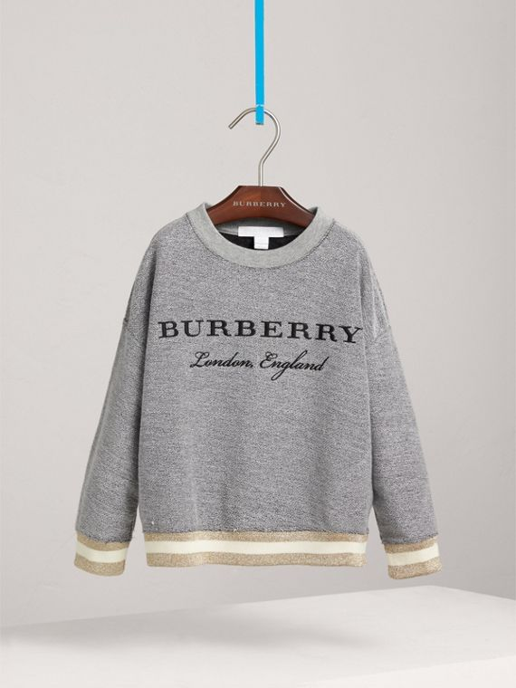 Striped Hem Embroidered Jersey Sweatshirt in Grey Melange - Girl | Burberry Singapore - cell image 2