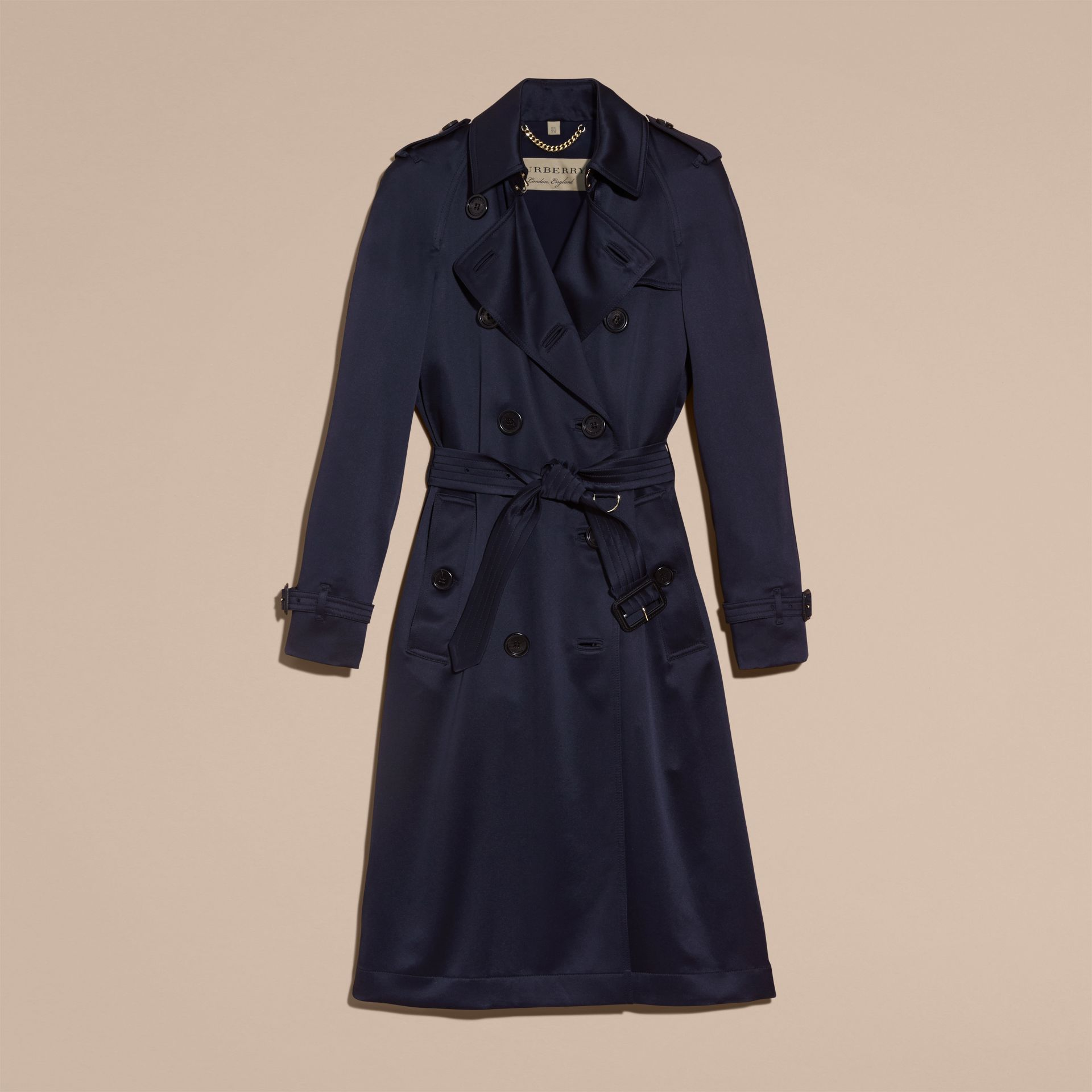Navy Silk Trench Coat - gallery image 4
