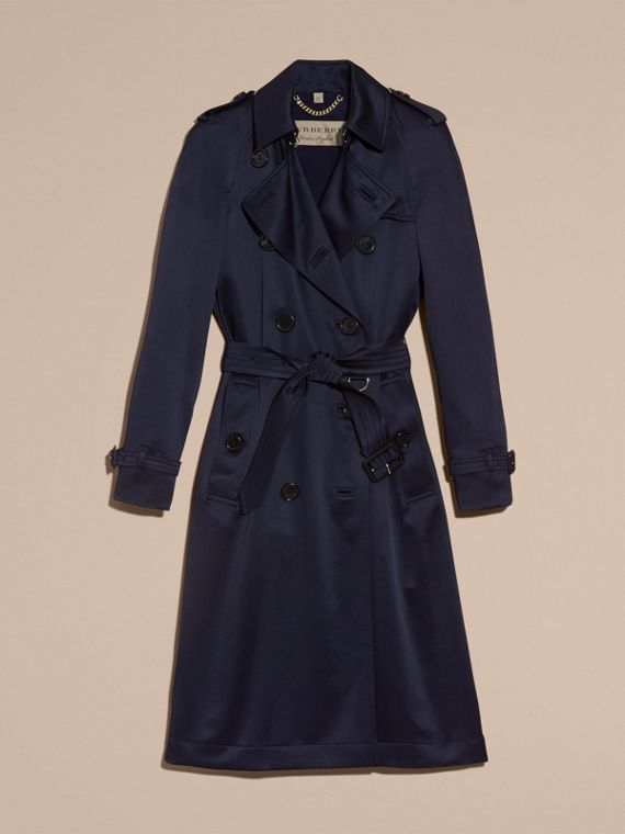 Navy Silk Trench Coat - cell image 3
