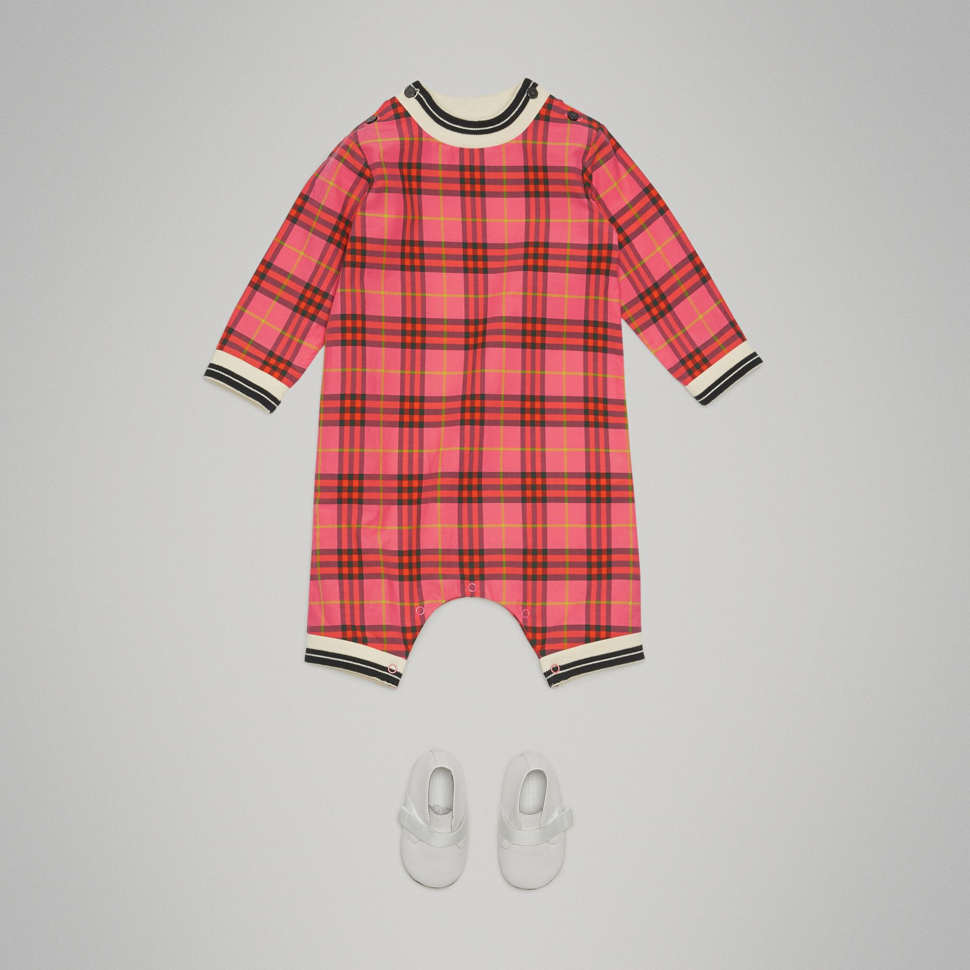 Check Cotton Jumpsuit in Coral Red - Children | Burberry United States - gallery image 2