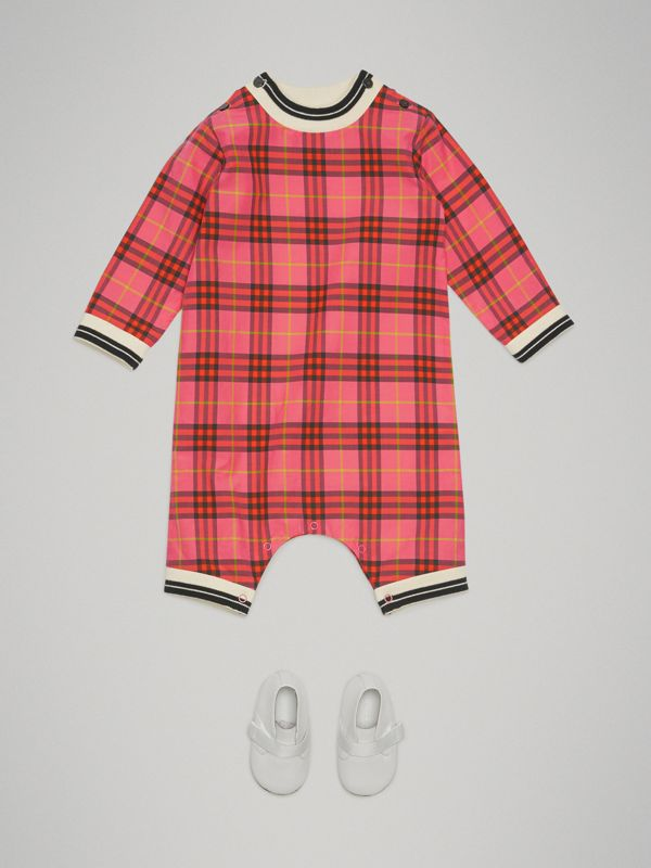Check Cotton Jumpsuit in Coral Red - Children | Burberry United States - cell image 2