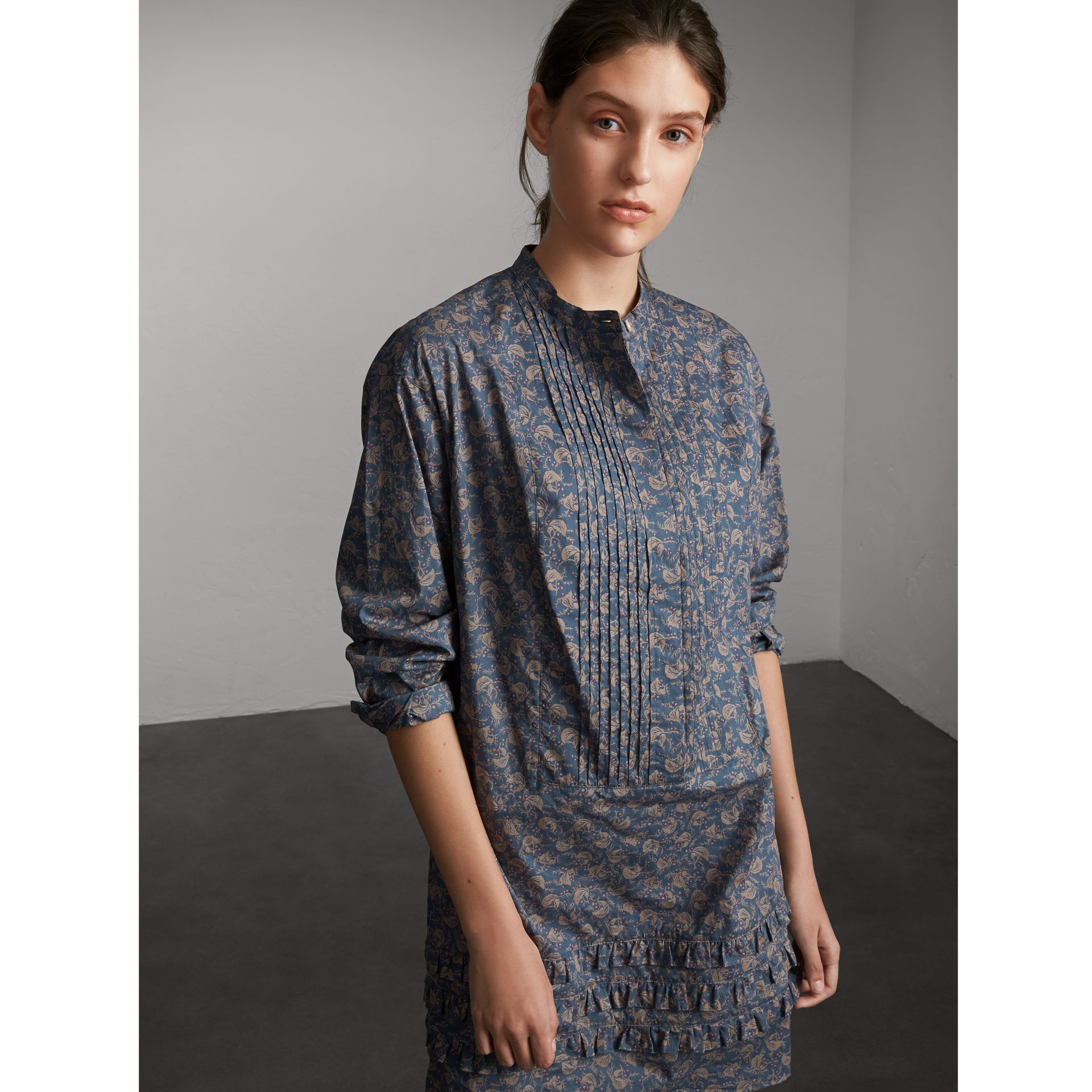 Pintuck Bib Leaf Print Cotton Shirt Dress - Women | Burberry - gallery image 1
