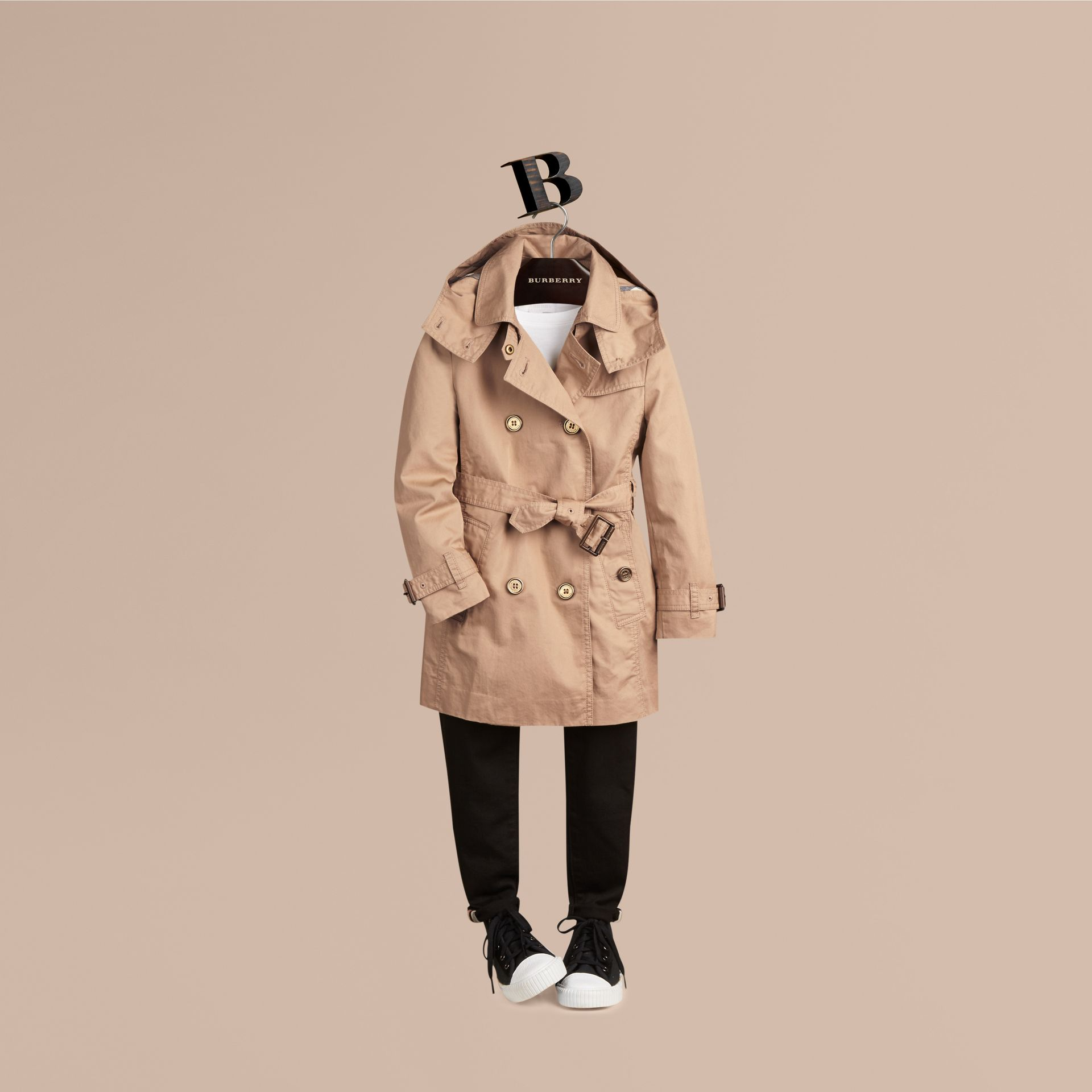 Honey Cotton Twill Detachable Hood Trench Coat - gallery image 1