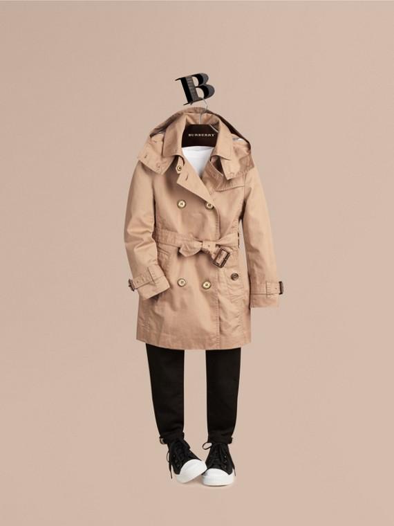 棉質斜紋可拆式連帽風衣
