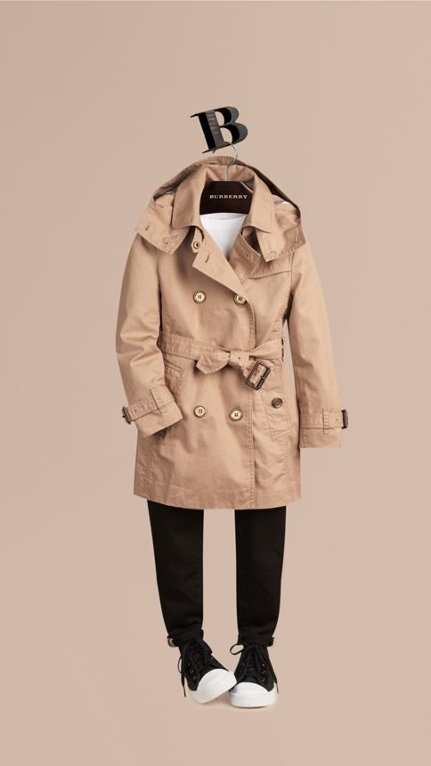 Honey Cotton Twill Detachable Hood Trench Coat - Image 1