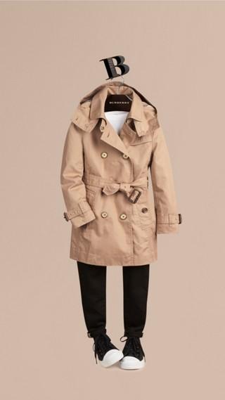 Trench-coat à capuche amovible en sergé de coton