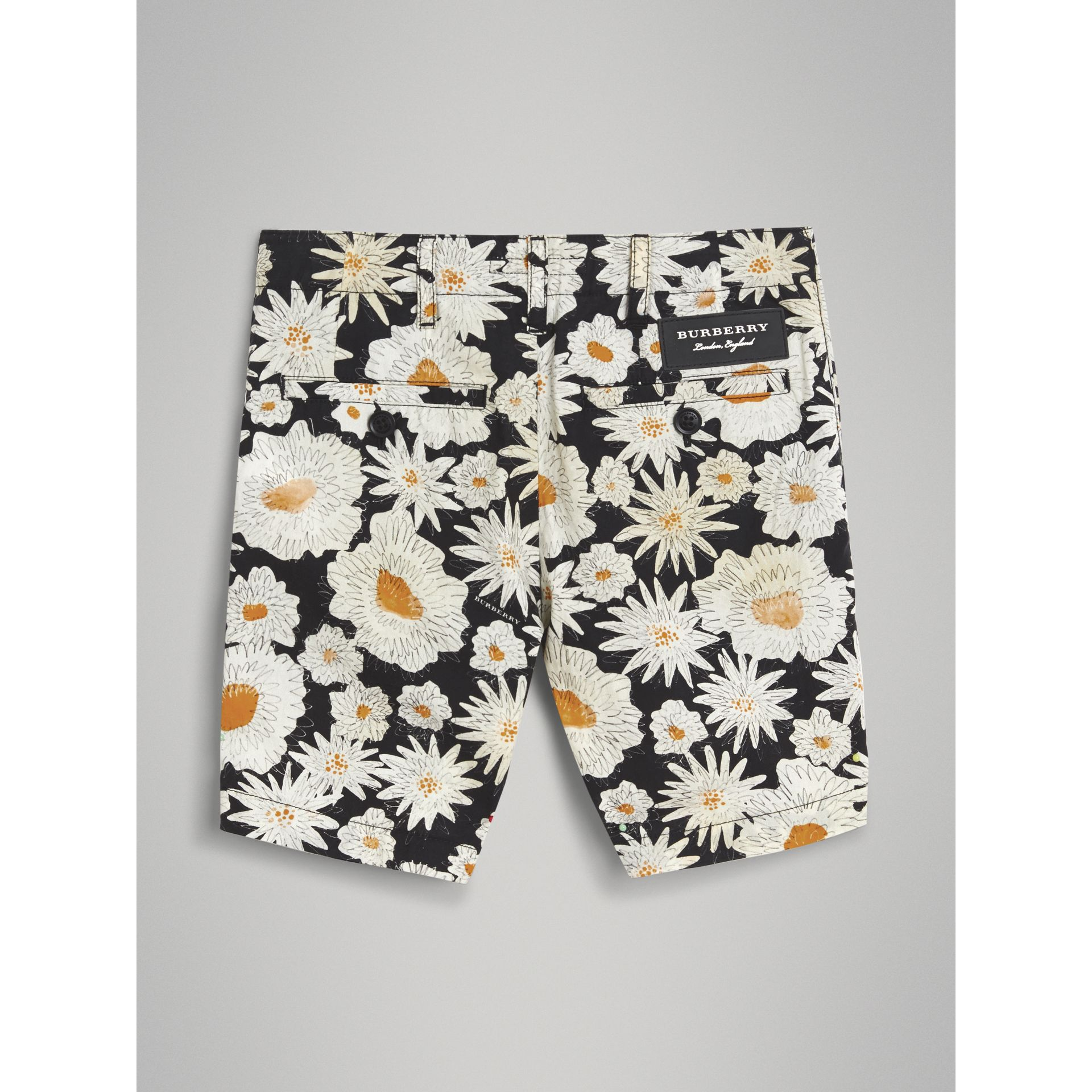Daisy Print Cotton Chino Shorts in Black | Burberry - gallery image 3