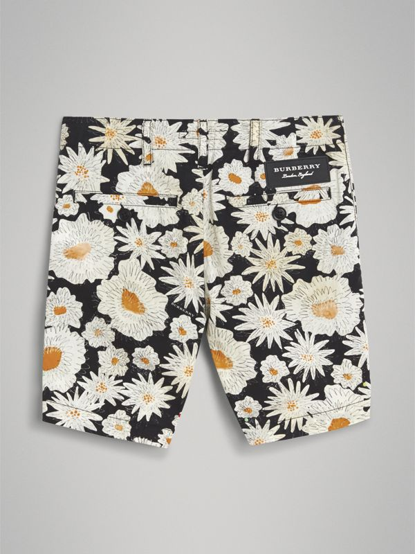 Daisy Print Cotton Chino Shorts in Black | Burberry - cell image 3