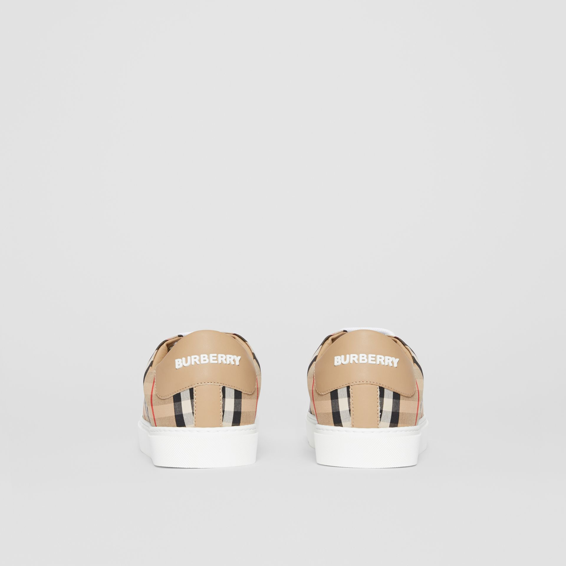 Vintage Check and Leather Sneakers in Archive Beige - Women | Burberry - gallery image 3