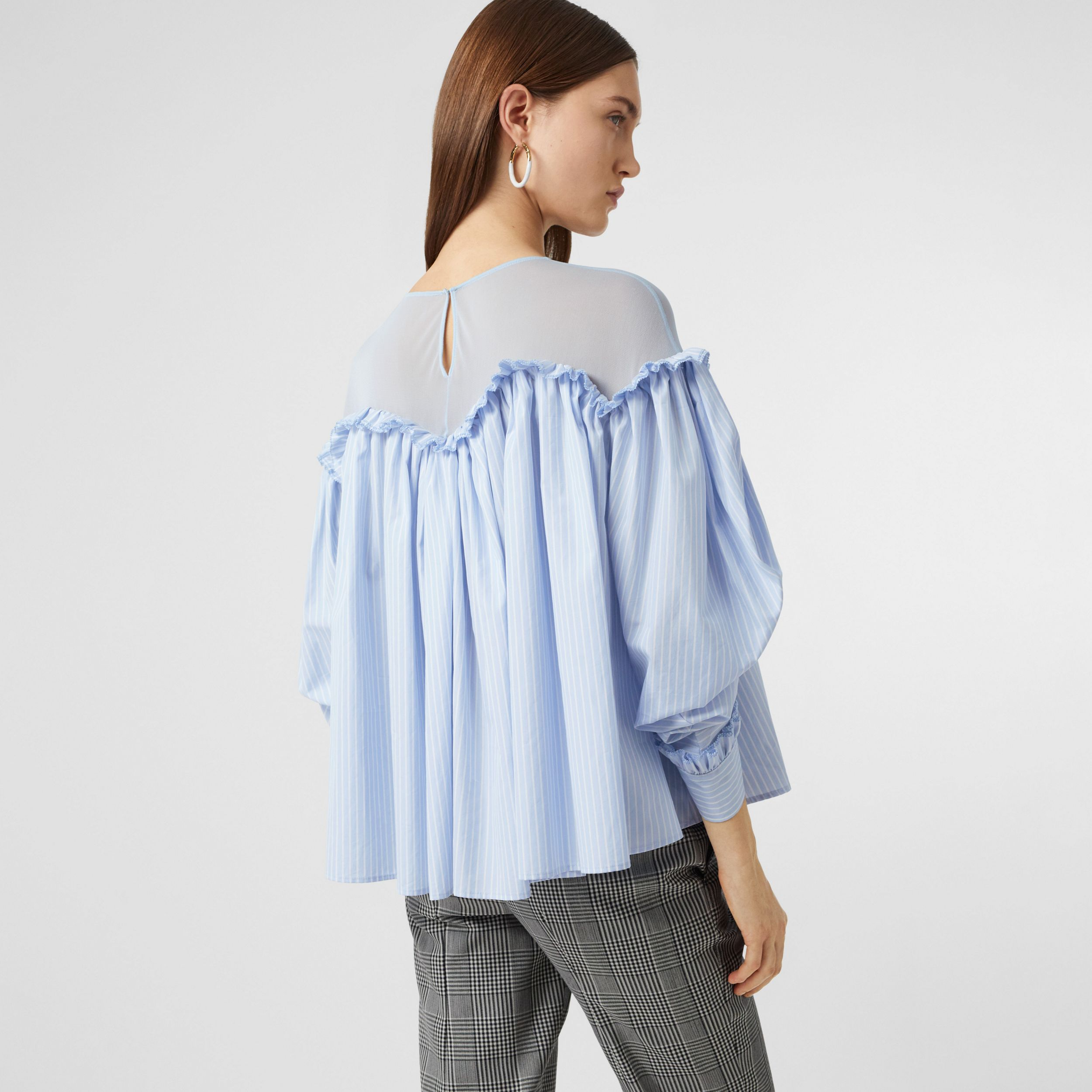 Puff-sleeve Striped Cotton and Jersey Blouse in Pale Blue - Women | Burberry - 3