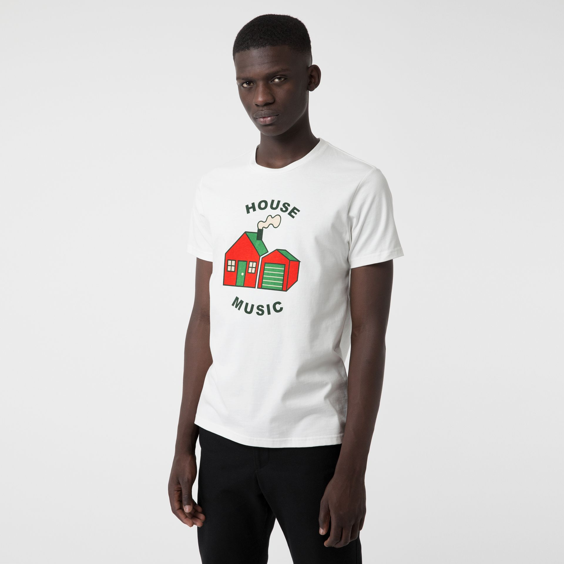 House Music Print Cotton T-shirt in White - Men | Burberry - gallery image 0