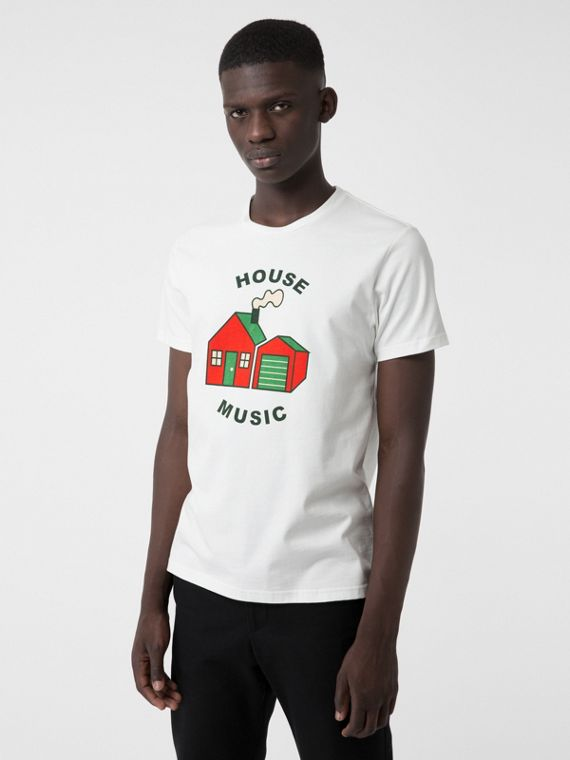 "Camiseta en algodón con estampado ""House Music"" (Blanco)"