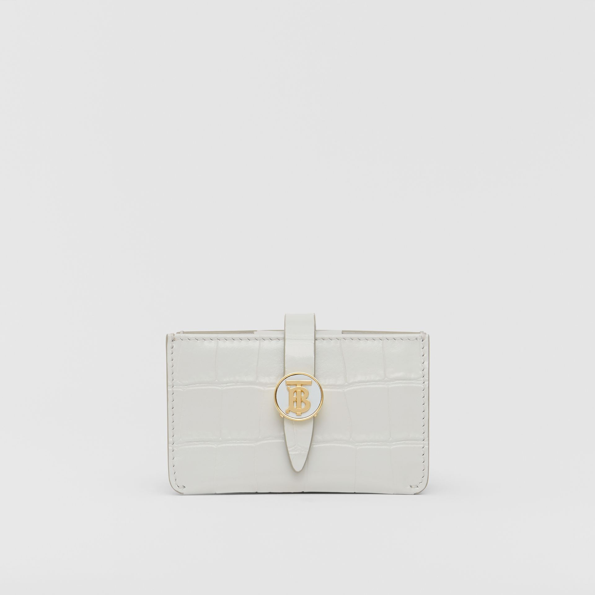 Monogram Motif Embossed Leather Card Case in Light Pebble Grey - Women | Burberry - gallery image 0