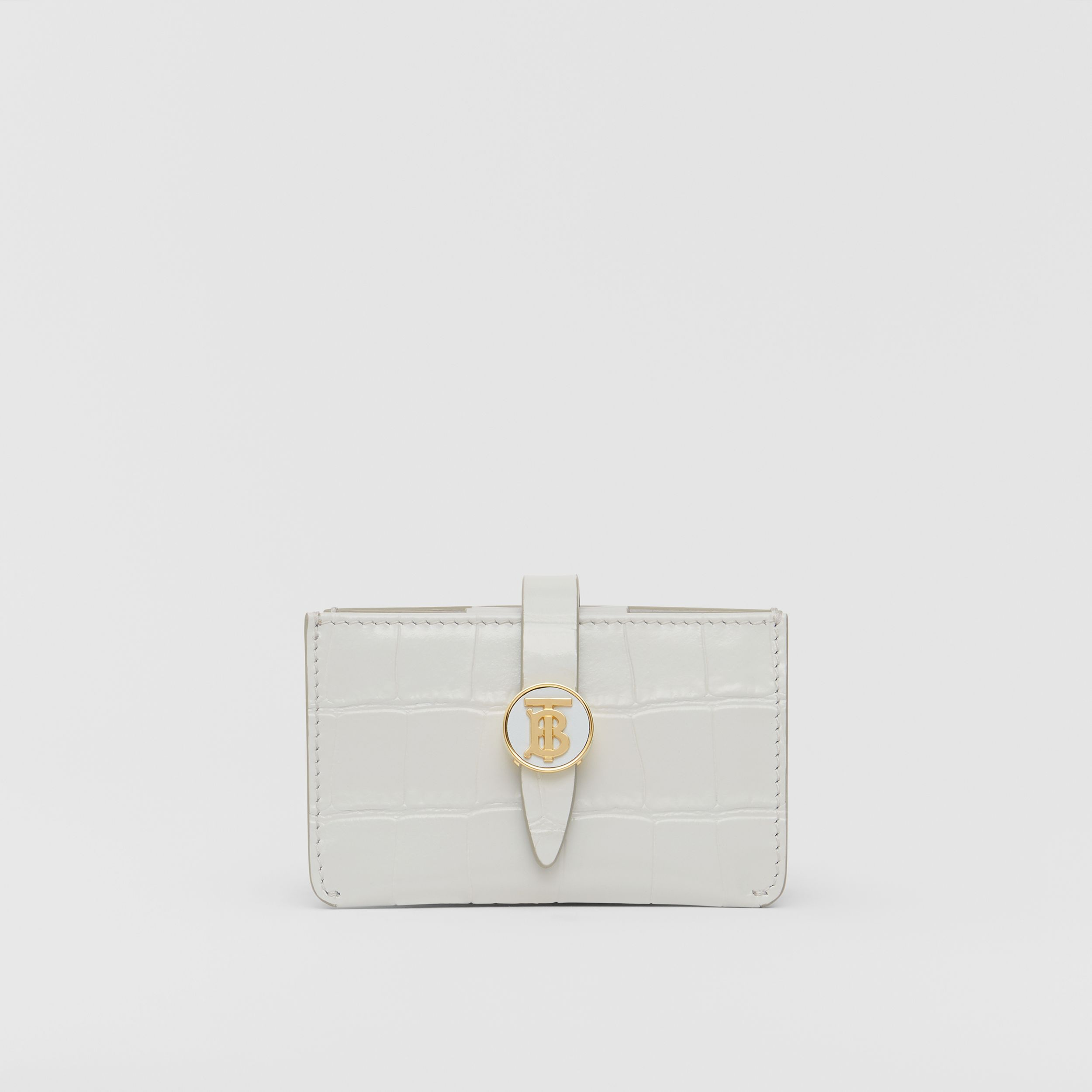 Monogram Motif Embossed Leather Card Case in Light Pebble Grey - Women | Burberry Canada - 1