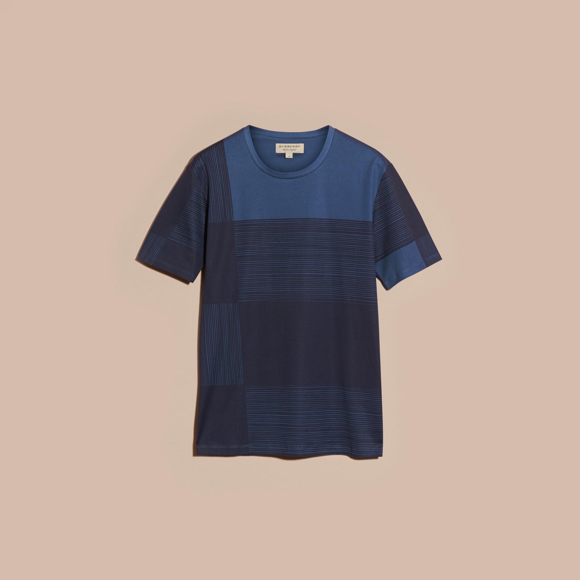 Navy T-shirt in cotone con motivo check stampato Navy - immagine della galleria 4