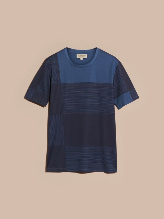 Navy T-shirt in cotone con motivo check stampato Navy - cell image 3