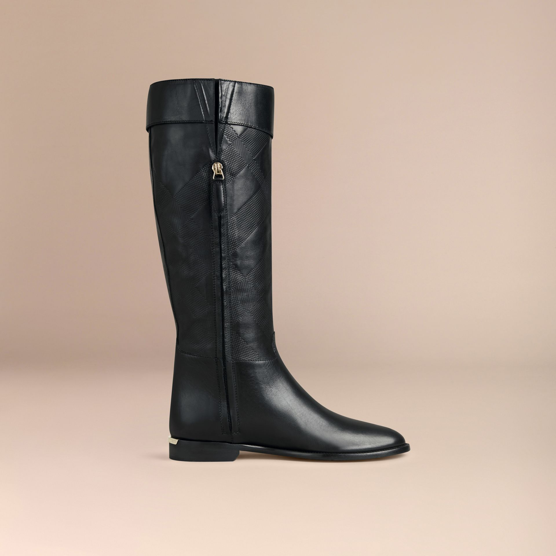 Black Check Detail Leather Riding Boots - gallery image 3