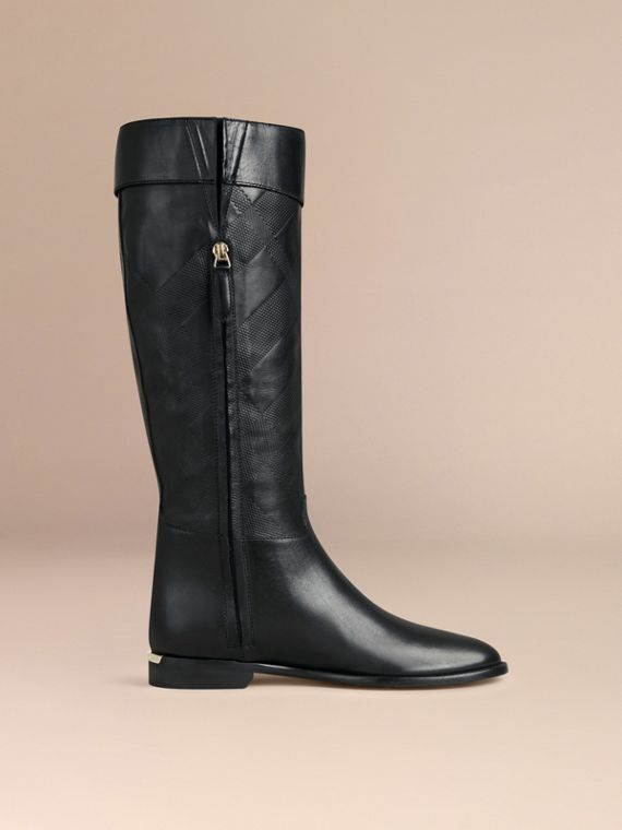 Black Check Detail Leather Riding Boots - cell image 2