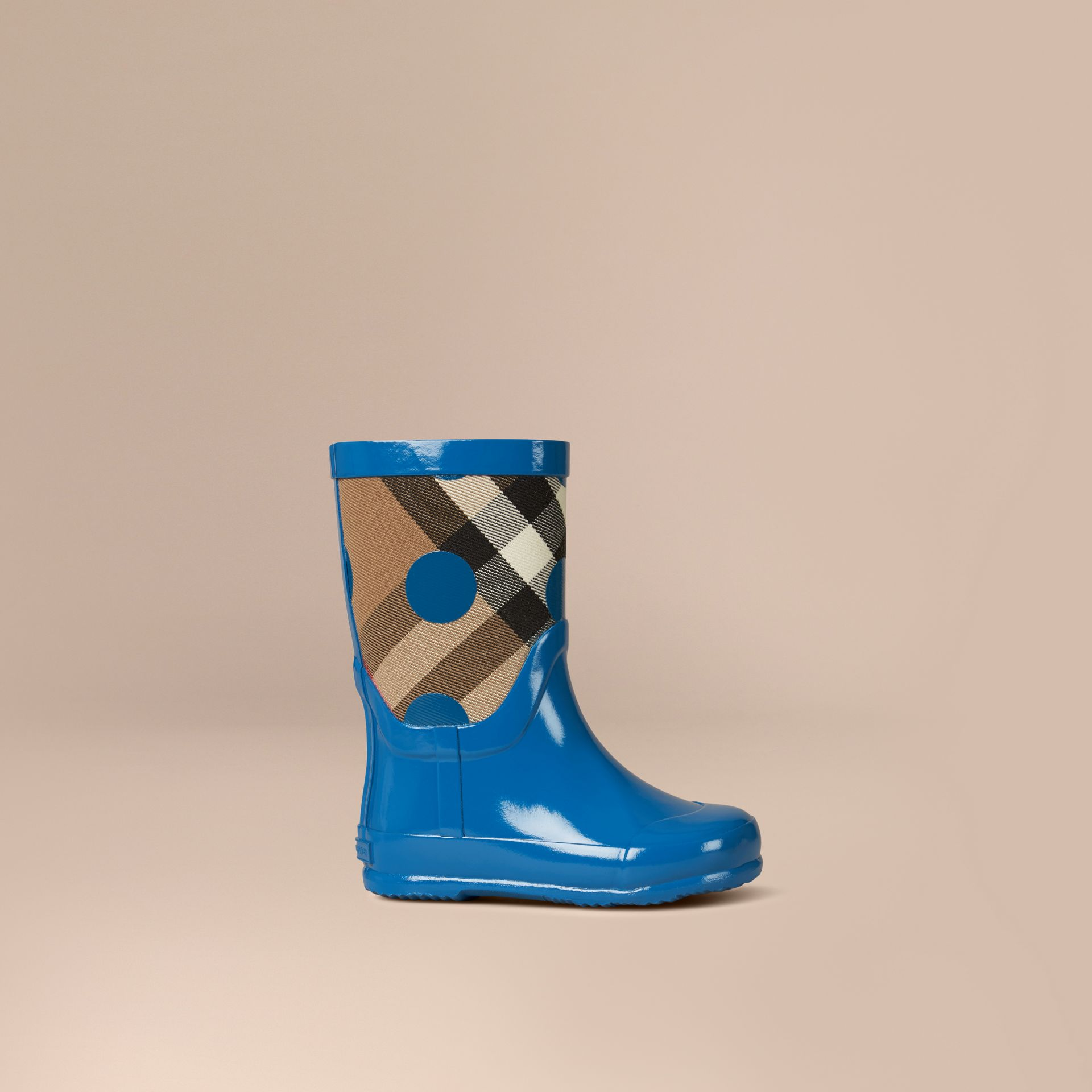 Lupin blue Dot Print House Check Rain Boots - gallery image 1