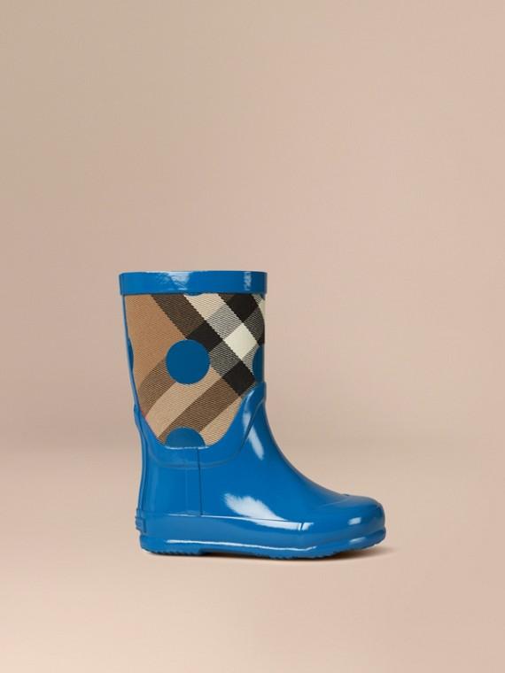 Dot Print House Check Rain Boots