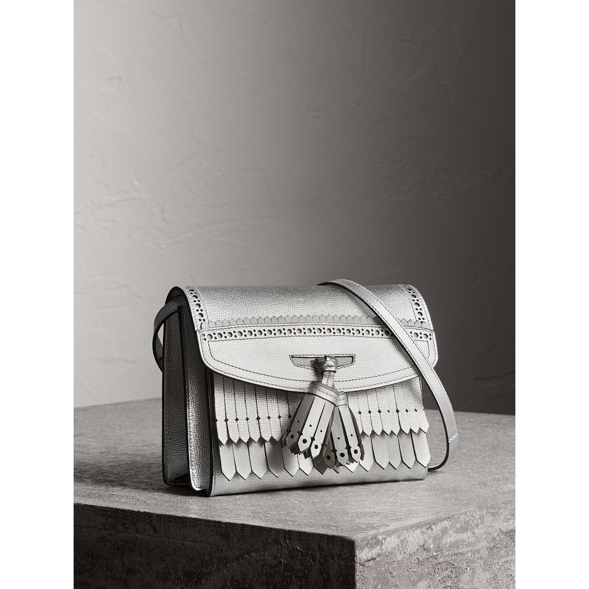 Brogue Detail Metallic Leather Crossbody Bag in Silver - Women | Burberry - gallery image 6