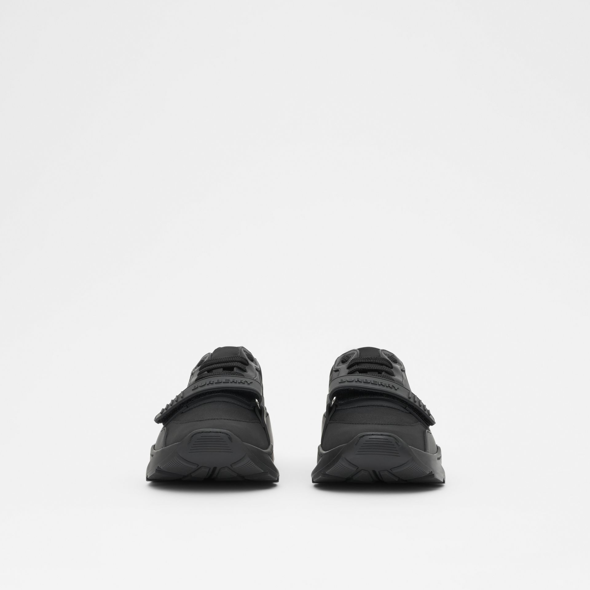Kingdom Print Neoprene and Leather Sneakers in Black - Men | Burberry United States - gallery image 2
