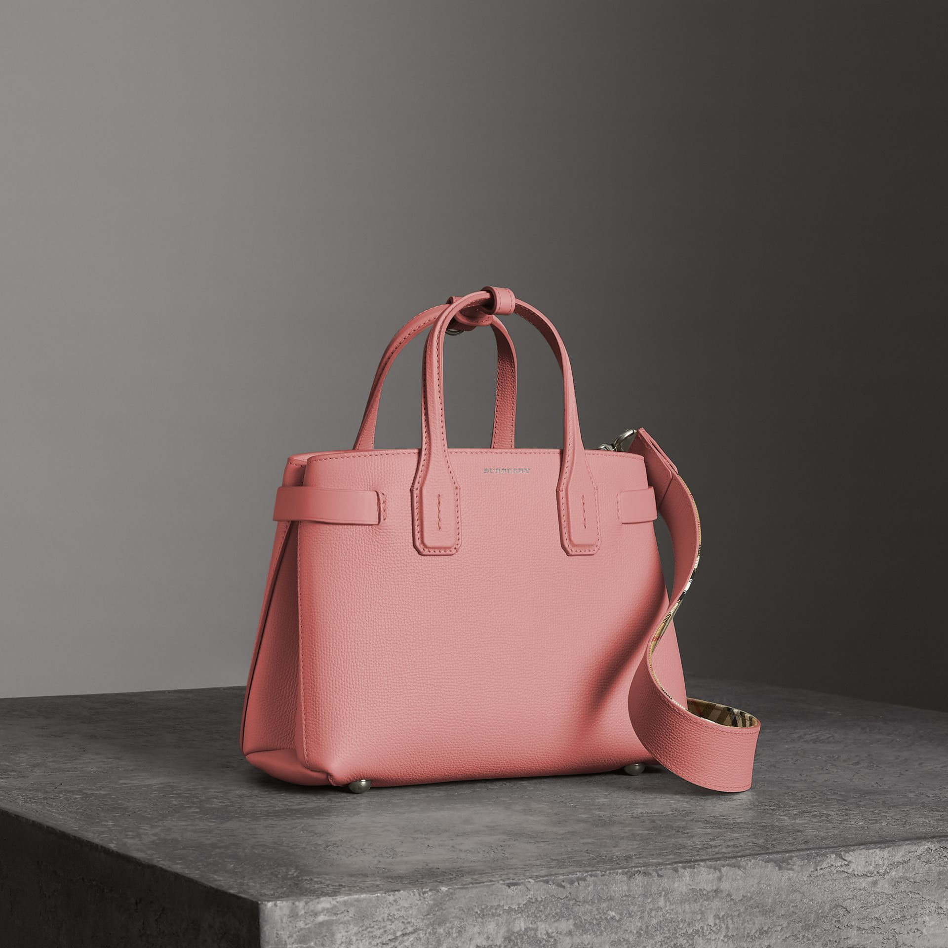 The Small Banner in Leather in Dusty Rose - Women | Burberry - gallery image 0