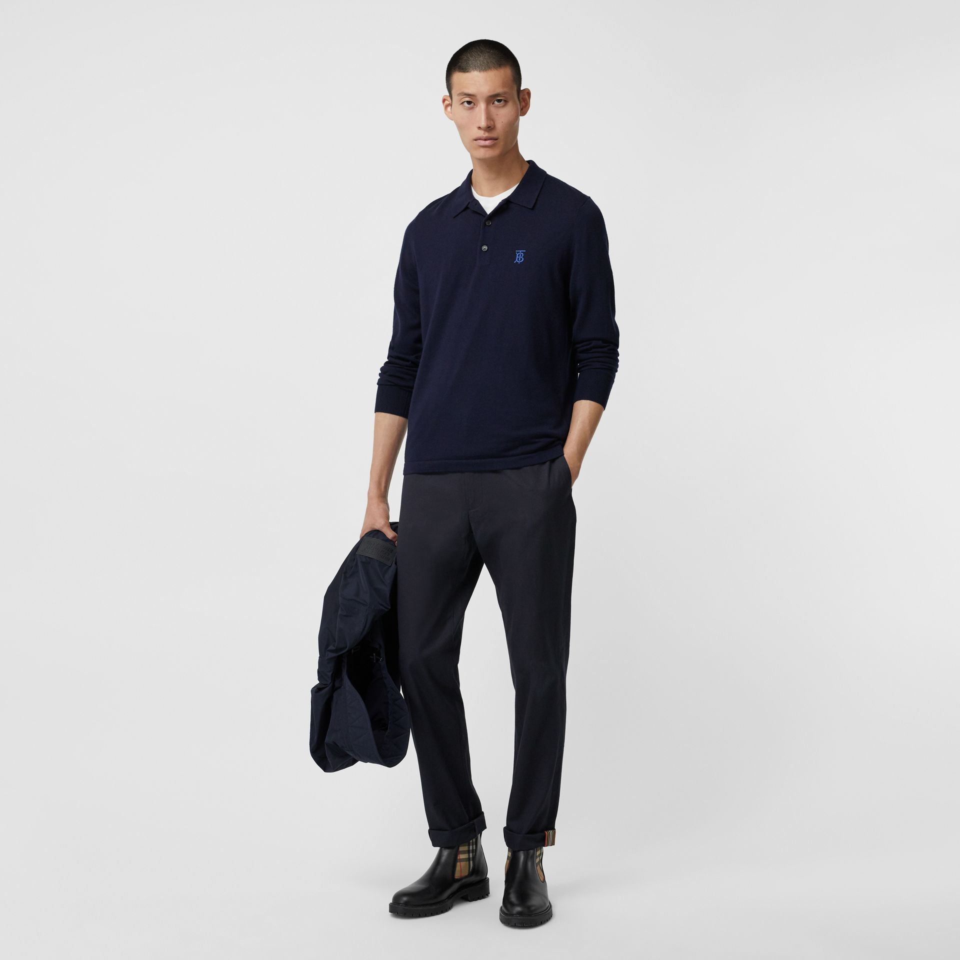 Long-sleeve Monogram Motif Merino Wool Polo Shirt in Navy - Men | Burberry - gallery image 0