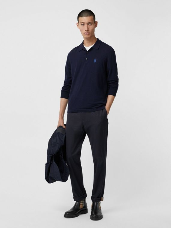 Long-sleeve Monogram Motif Merino Wool Polo Shirt in Navy