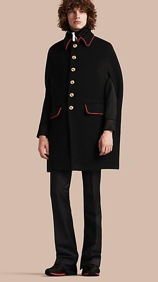 Wool Cashmere Blend Military Cape Coat