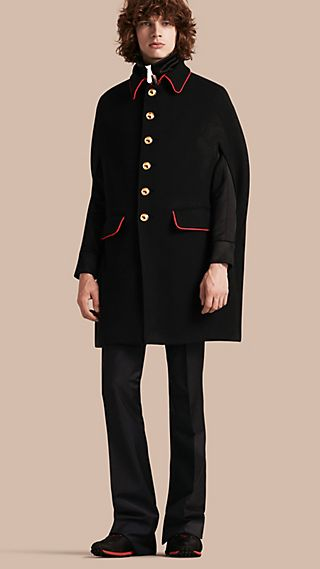 Wool Cashmere Blend Military Cape Coat