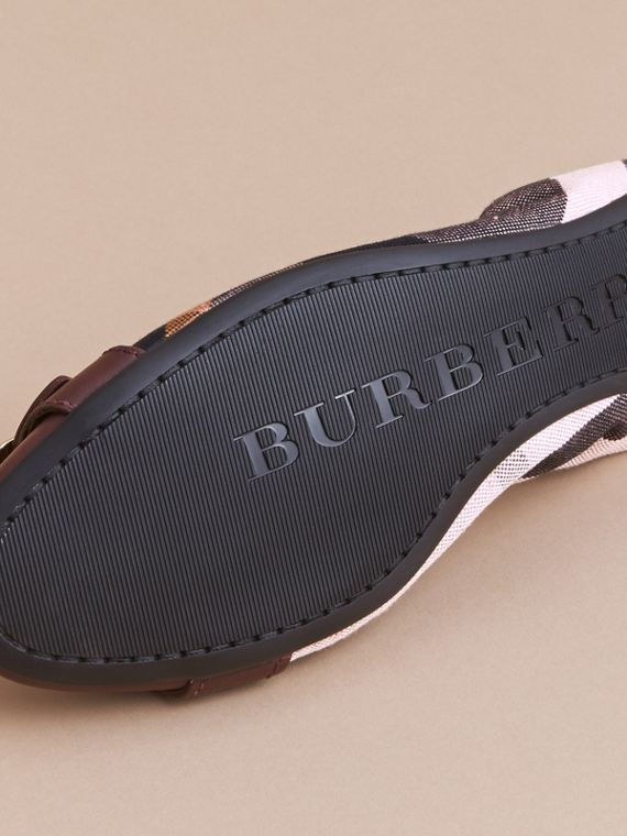 Check Linen Cotton and Leather Ballerinas - Women | Burberry - cell image 3