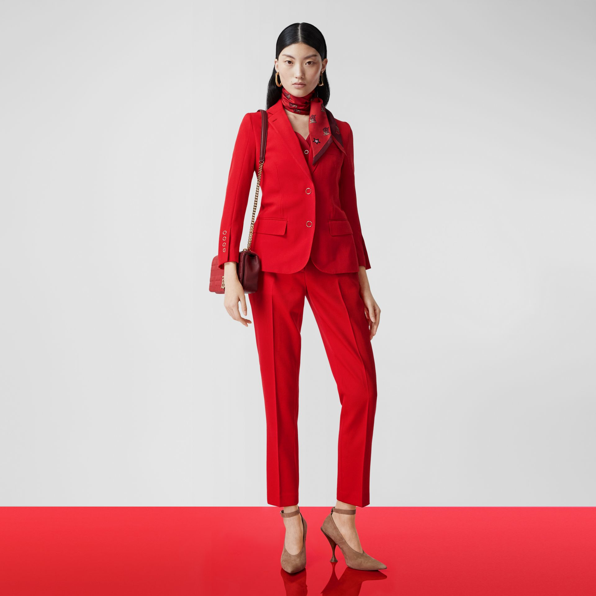 Wool Tailored Trousers in Bright Red - Women | Burberry United Kingdom - gallery image 5