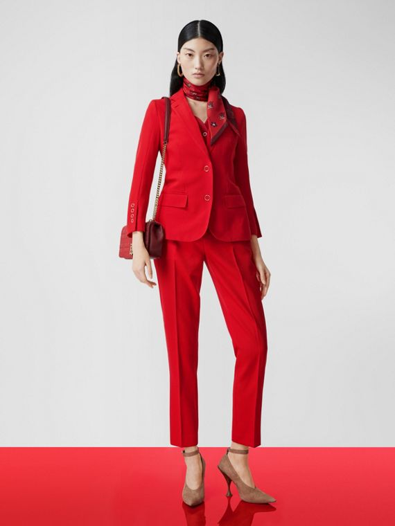 Wool Tailored Trousers in Bright Red