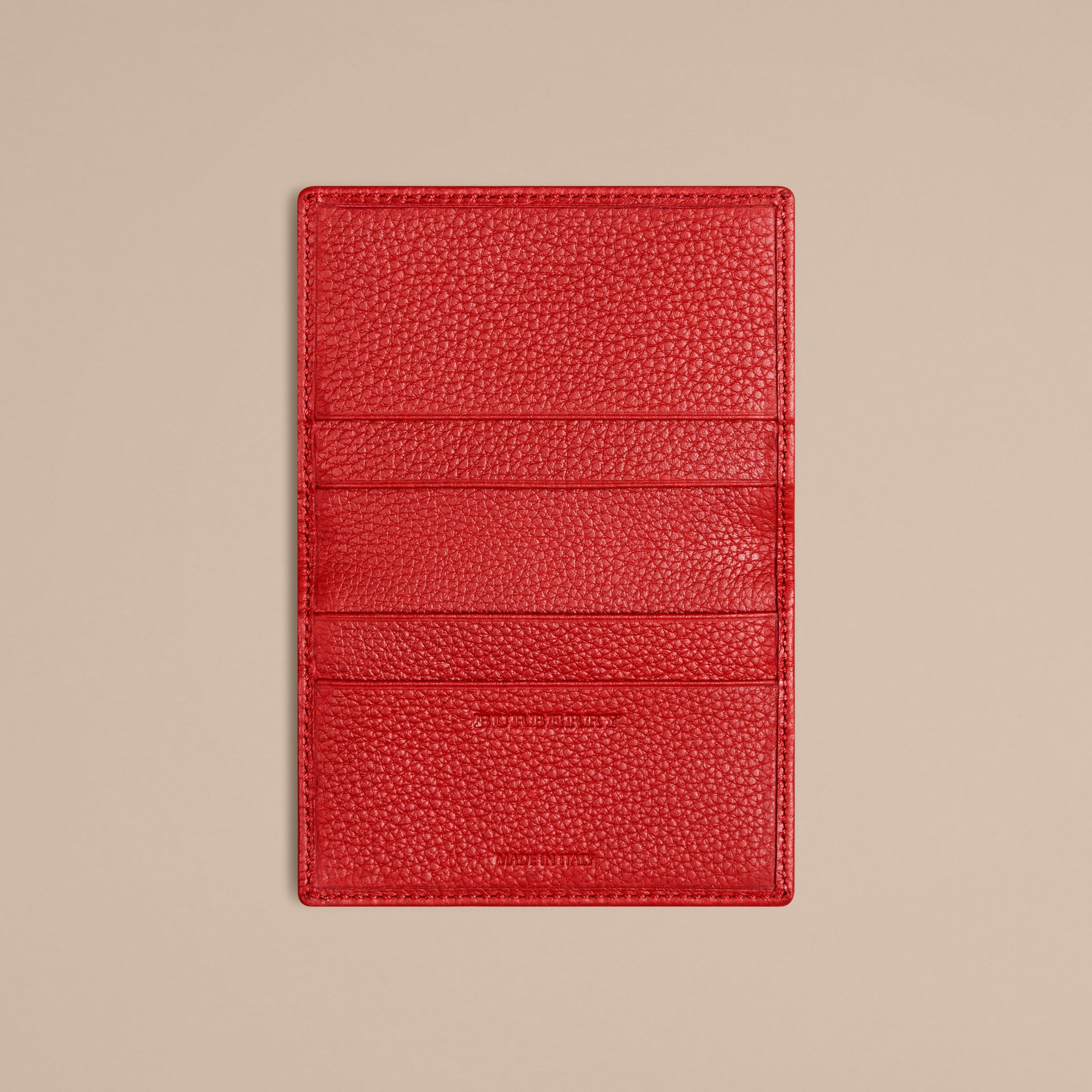 Grainy Leather Card Case in Parade Red | Burberry - gallery image 3