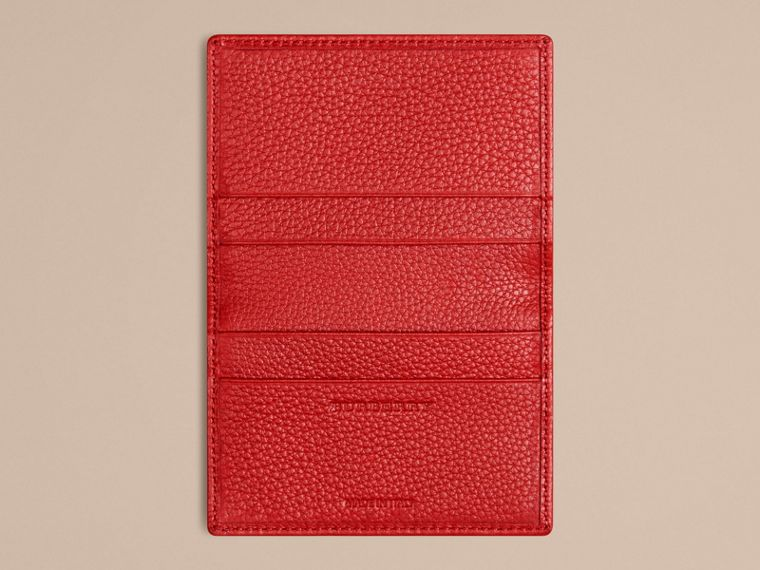 Grainy Leather Card Case in Parade Red | Burberry - cell image 2