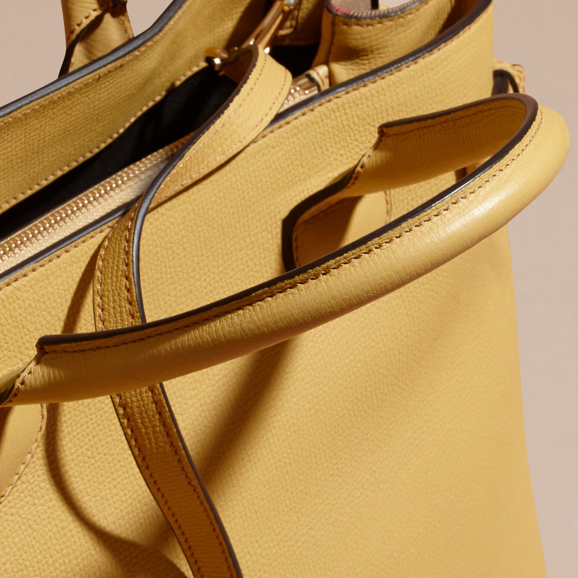 The Medium Banner in Leather and House Check Citrus Yellow - gallery image 2