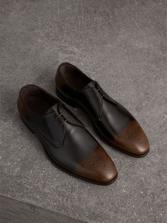 Ombré Perforated Detail Leather Derby Shoes in Chocolate Brown
