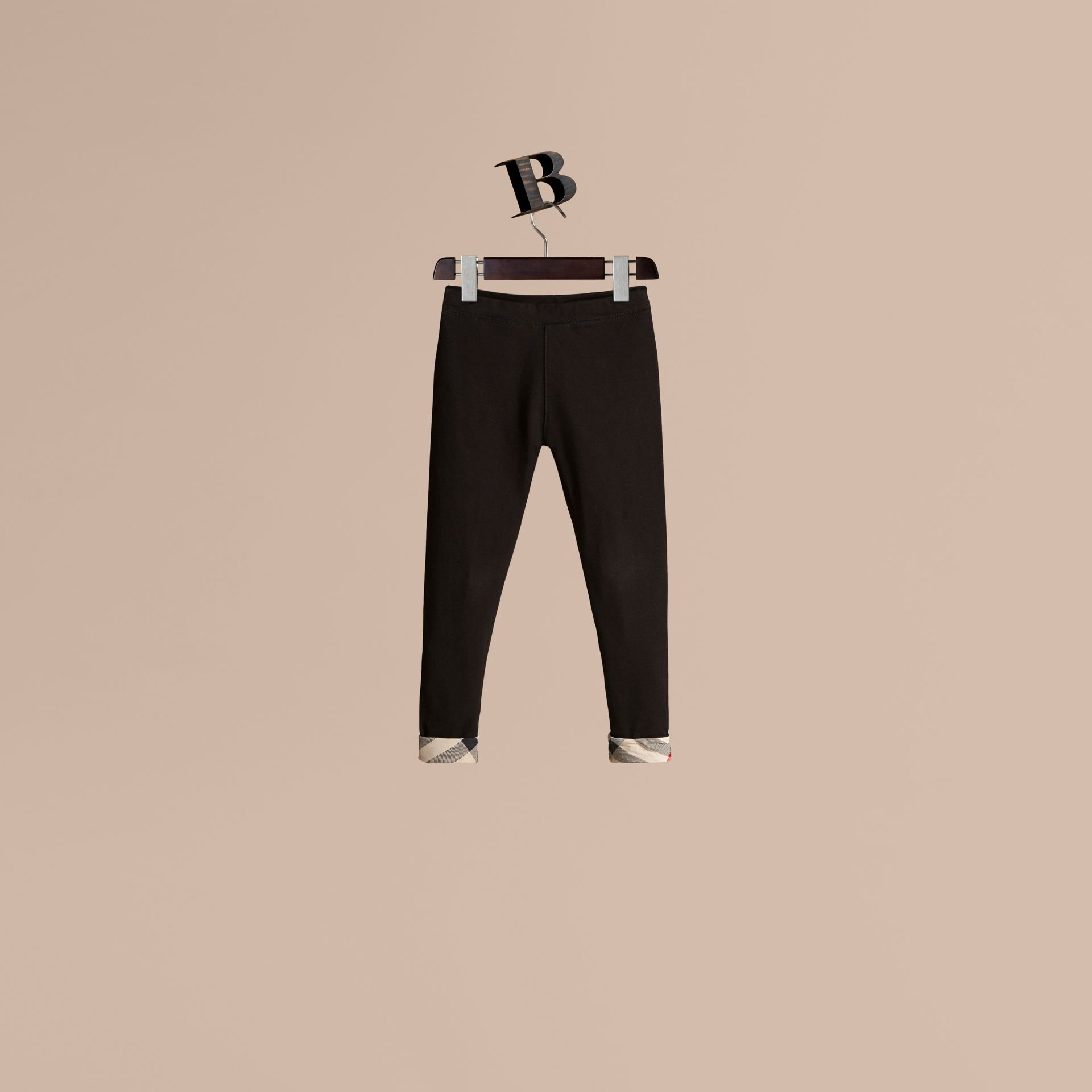 Stretch Cotton Leggings in Black - Girl | Burberry - gallery image 1