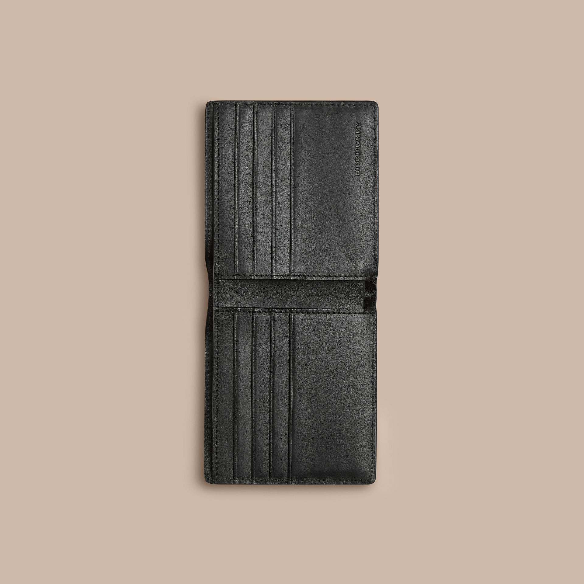 Black Check-embossed Leather Folding Wallet Black - gallery image 4