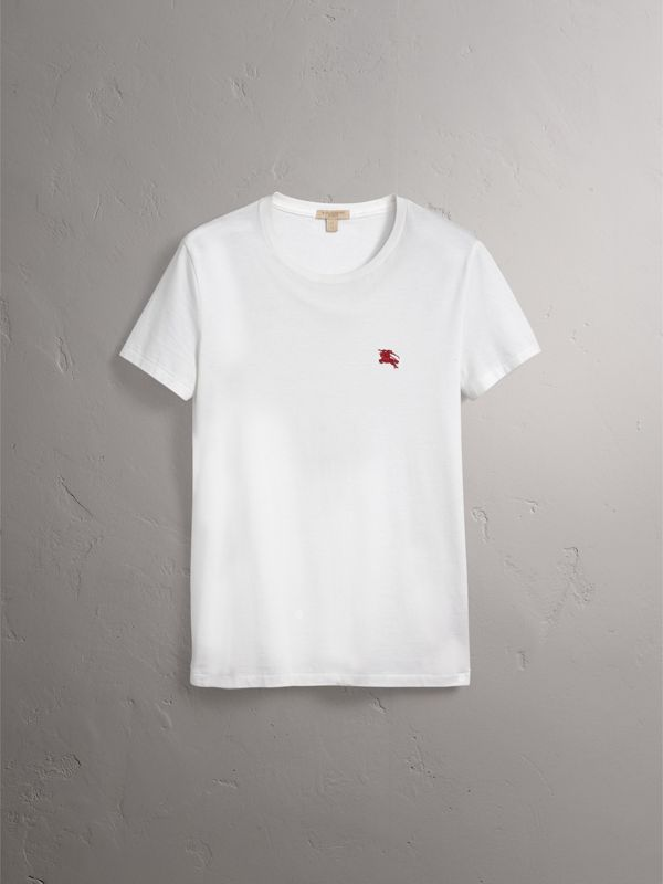Cotton Jersey T-shirt in Optic White - Men | Burberry Australia - cell image 3