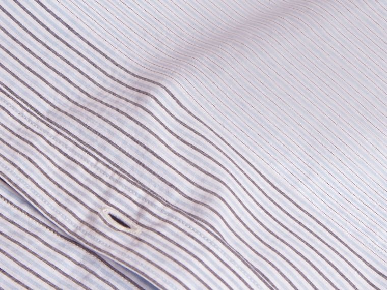Panelled Stripe Cotton Shirt Light Blue - cell image 1