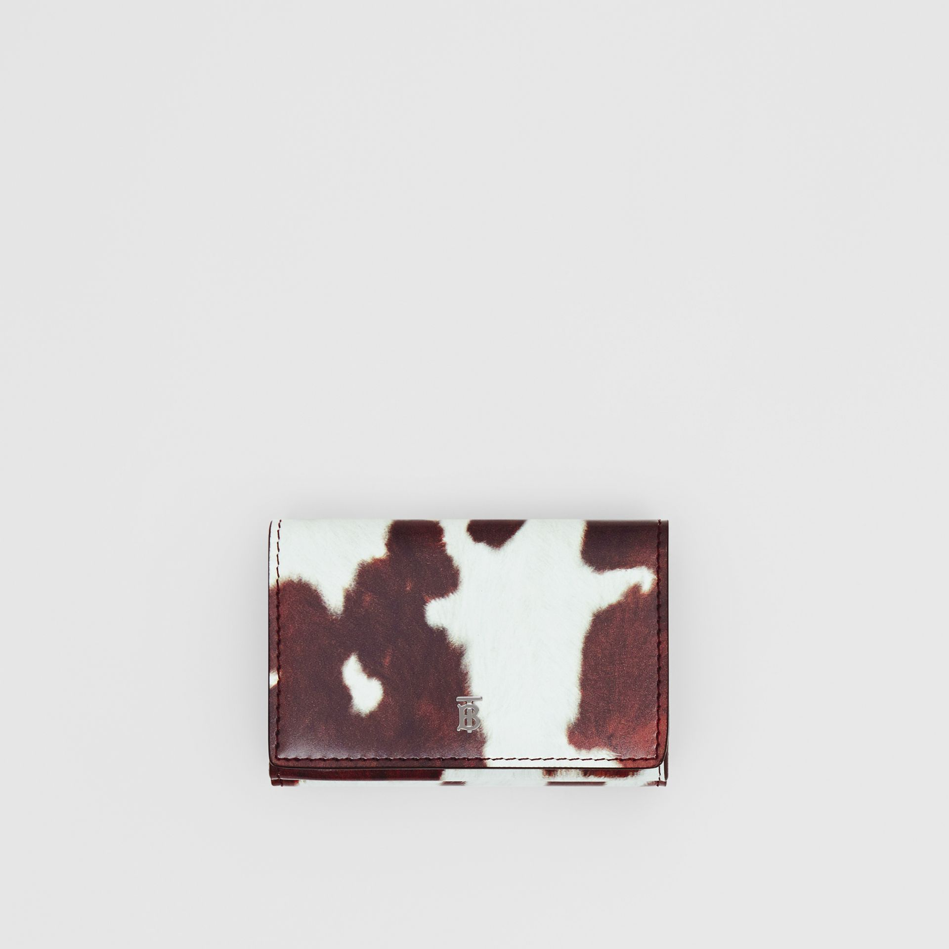 Small Cow Print Leather Folding Wallet in Malt Brown - Women | Burberry - gallery image 0