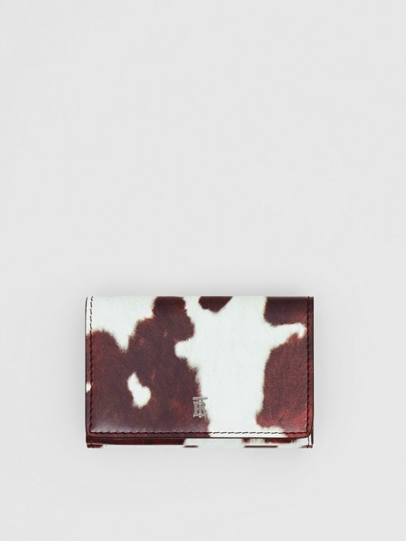 Small Cow Print Leather Folding Wallet in Malt Brown