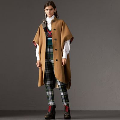 Reversible Checked Wool-Blend Cape, Camel