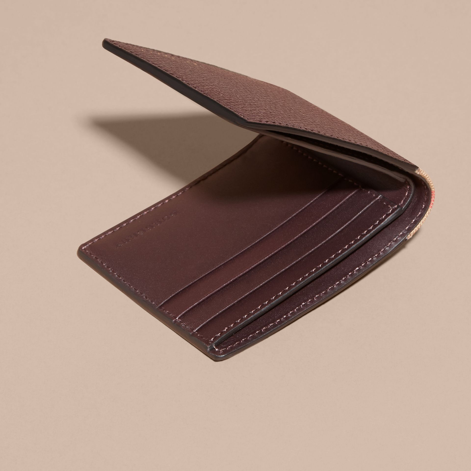 Grainy Leather and House Check Bifold Wallet in Wine | Burberry - gallery image 5